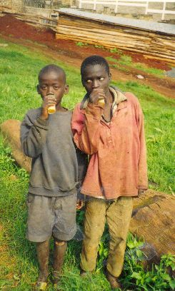 Many street children sniff glue to get high.